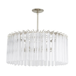 Nessa Round Chandelier - Clear/Polished Nickel
