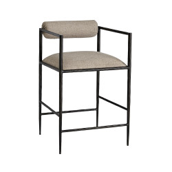Barbana Counter Stool Pewter Texture - Natural/Pewter