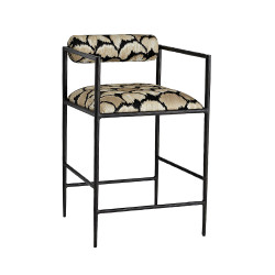 Barbana Counter Stool Ocelot Embroidery - Natural