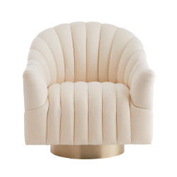 Springsteen Chair Muslin Champagne Swivel - White/Champagne
