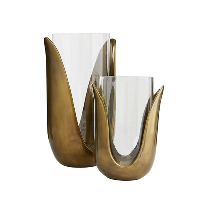 Sonia Vases, Set of 2 - Antique Brass/Clear