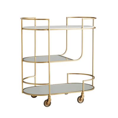 Trainor Bar Cart - Antique Brass