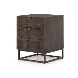 Four Hands Kelby Filing Cabinet - Carved Vintage Brown - Vintage Brown - Gunmetal