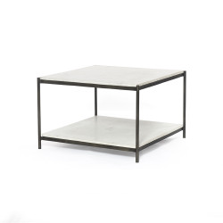 Four Hands Felix Bunching Table - Hammered Grey W/Clear Powder Coat - Polished White Marble