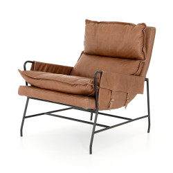 Four Hands Taryn Chair - Waxed Ebony - Chaps Saddle
