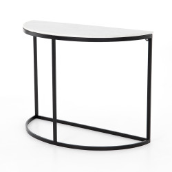 Four Hands Mueller Demilune-Polished White Marble - Iron Matte Black - Polished White Marble