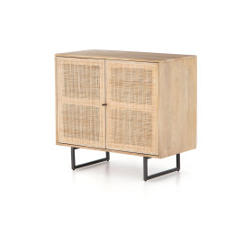 Four Hands Carmel Small Cabinet-Natural Mango - Natural Cane - Natural Mango - Gunmetal
