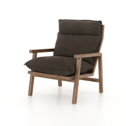 Four Hands Orion Chair - Nubuck Charcoal - Antique Walnut