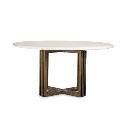 Four Hands Mia Round Dining Table-Parchment White - Antique Brass - Parchment White