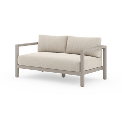 Four Hands Sonoma Outdoor Sofa, Weathered Grey - Faye Sand - Weathered Grey - Dark Grey Strap