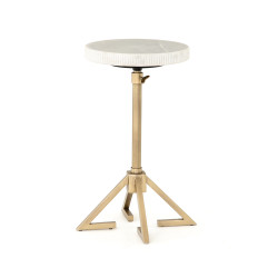 Four Hands Alana Adjustable Accent Table - Antique Brass - White Marble