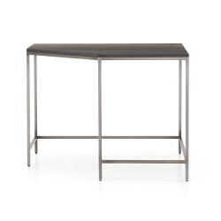 Four Hands Trey Modular Corner Desk - Natural Iron - Black Wash Poplar - Toffee Leather