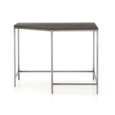 Four Hands Trey Modular Corner Desk - Natural Iron - Black Wash Poplar - Toffee Leather