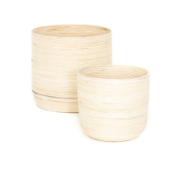 Four Hands Feye Natural Baskets - Set Of 2 - Natural Cross Weave
