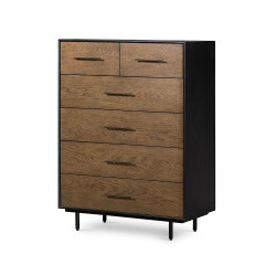 Four Hands August 6 Drawer Tall Dresser - Warm Oak - Black Brushed Oak - Black