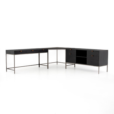 Four Hands Trey Desk System With Filing Credenza - Natural Iron - Black Wash Poplar - Toffee Leather