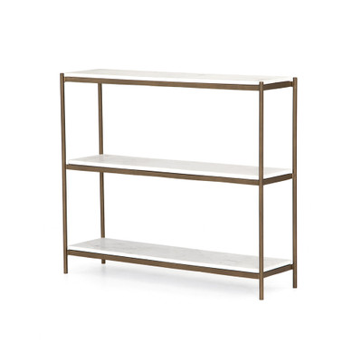 Four Hands Felix Small Console Table - Antique Brass - Polished White Marble