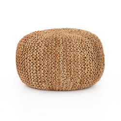 Four Hands Jute Knit Pouf - Tan Jute