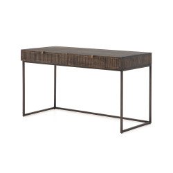 Four Hands Kelby Writing Desk - Carved Vintage Brown - Gunmetal - Vintage Brown