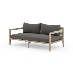 Four Hands Sherwood Outdoor Sofa, Washed Brown - Charcoal - Washed Brown