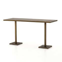 Four Hands Fannin Large Counter Table - Aged Brass - Acid Etched Aged Brass