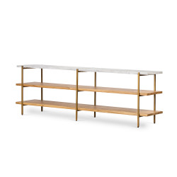 Four Hands Olga Media Console - Golden Brass - Natural Oak - Italian White Marble