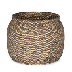 Four Hands Ansel Contrast Black Basket - Natural Lombok Weave - Black Rattan