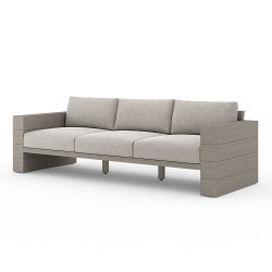 Four Hands Leroy Outdoor Sofa, Weathered Grey - Stone Grey - Weathered Grey