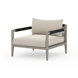 Four Hands Sherwood Outdoor Chair, Weathered Grey - Faye Sand - Weathered Grey - Dark Grey Rope