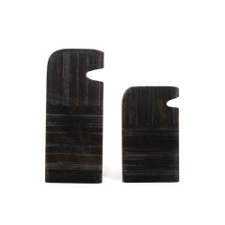 Four Hands Tab Stone Sculptures - Rough Black Marble