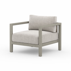 Four Hands Sonoma Outdoor Chair, Weathered Grey - Stone Grey - Weathered Grey - Dark Grey Strap