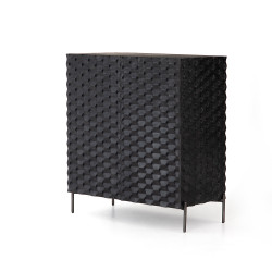 Four Hands Raffael Bar Cabinet-Carved Black Wash - Aged Iron - Carved Black Wash - Black Wash