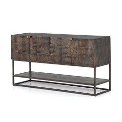 Four Hands Kelby Small Media Console - Carved Vintage Brown - Vintage Brown - Gunmetal