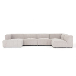 Four Hands Langham Channeled 5-Pc Laf Chaise Secti - Napa Sandstone
