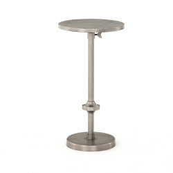 Four Hands Eileen Adjustable Accent Table - Antique Pewter - Diamond Etched Pewter