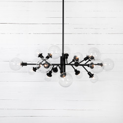 Four Hands Pellman Chandelier - Flat Black - Clear Glass