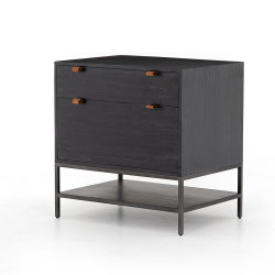 Four Hands Trey Modular Filing Cabinet - Natural Iron - Black Wash Poplar - Toffee Leather