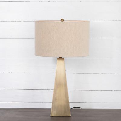 Four Hands Leander Table Lamp - Dark Antique Brass - Light Antique Brass - Light Beige