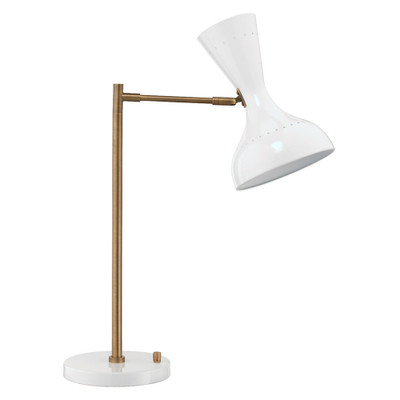 Jamie Young Pisa Swing Arm Table Lamp - White Lacquer & Antique Brass Metal