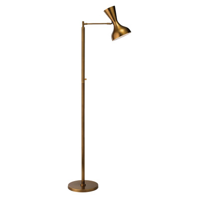 Jamie Young Pisa Swing Arm Floor Lamp - Antique Brass Metal