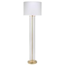 Jamie Young Vanderbilt Floor Lamp - Brass Metal & Clear Glass