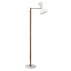 Jamie Young Pisa Swing Arm Floor Lamp - White Lacquer & Antique Brass Metal