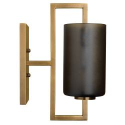 Jamie Young Blueprint Wall Sconce - Antique Brass Metal & Grey Frosted Glass