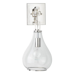Jamie Young Tear Drop Hanging Wall Sconce - Clear Glass & Nickel Metal
