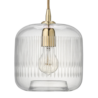 Jamie Young Contour Pendant - Clear Glass w/ Ant. Brass Hardware