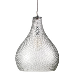 Jamie Young Cut Glass Curved Pendant - Large - Clear Cut Glass
