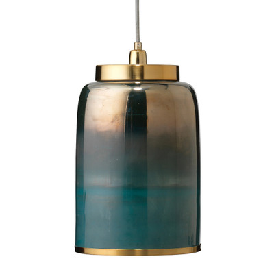 Jamie Young Vapor Pendant - Medium - Aqua Metallic Glass w/Antique Brass Hardware
