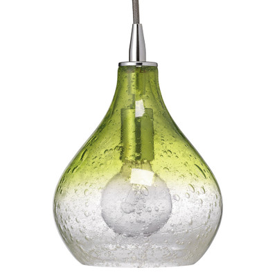 Jamie Young Curved Pendant - Small - Celadon Seeded Glass w/ Nickel Hardware