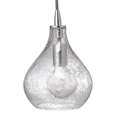 Jamie Young Curved Pendant - Small - Clear Seeded Glass w/ Nickel Hardware