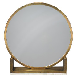 Jamie Young Odyssey Standing Mirror - Antique Brass Metal & White Marble